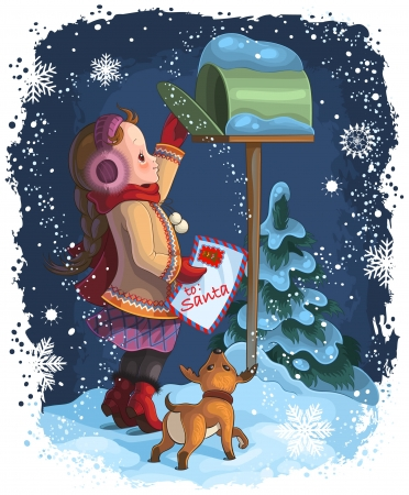 A little girl and her puppy posting a letter to Santa