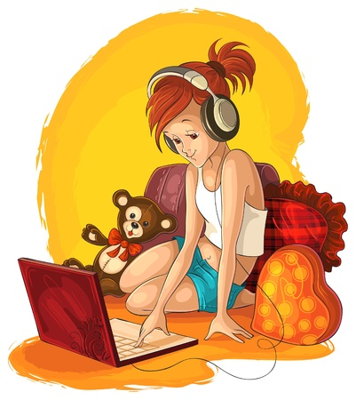 nerd: A little girl working and listening music on laptop Illustration