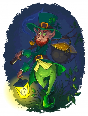 Leprechaun with smoking pipe and gold coin pot Stock Illustratie