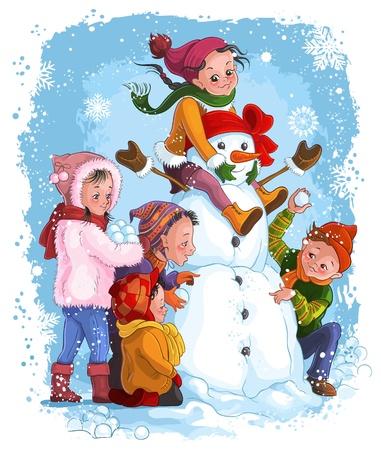 winter fun: Vector illustratie, winter spellen, kinderen en sneeuwpop Card concept Stock Illustratie