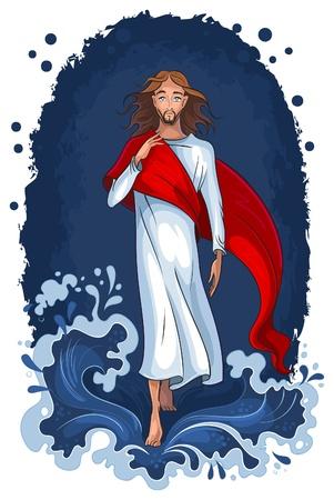 Jezus lopen op het water. Christelijke achtergrond Stock Illustratie