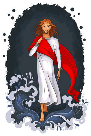 Jesus walking on water. Christian theme Vector