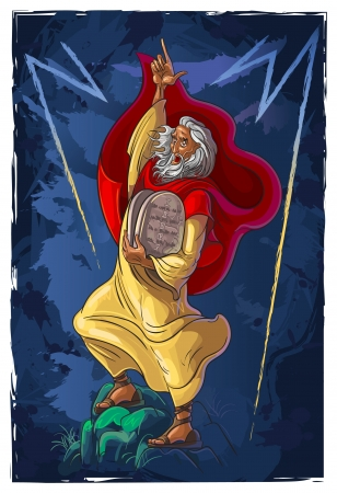 bible ten commandments: Bible Story of Moses and the ten commandments Illustration
