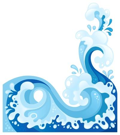 바다 파도 배경입니다. 물 스플래시 디자인은 흰색에 고립
