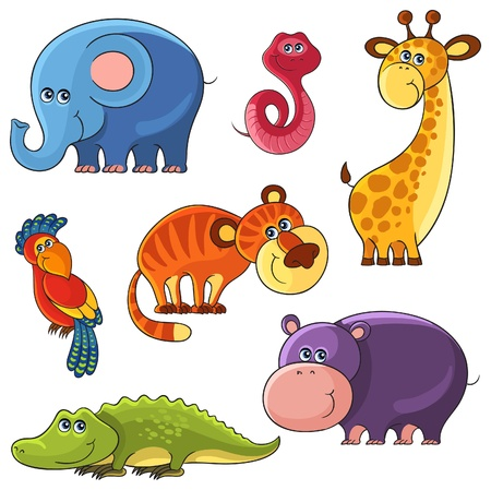 illustration zoo: cartoon set of African wild animal characters Illustration