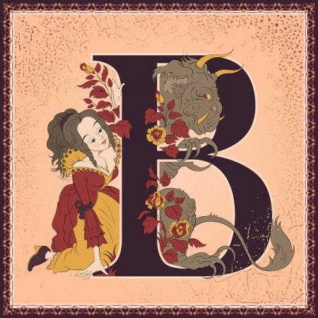 Vintage children fairy tales book alphabet  Letter B  Beauty Vector