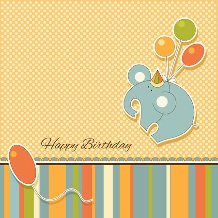 baby scrapbook: New announcement card with elephant