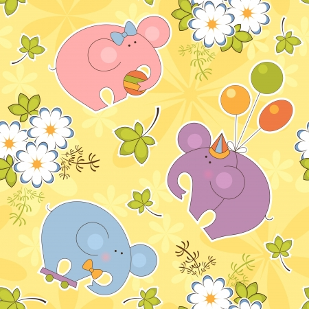 camomile flower: Child floral and animal seamless pattern background
