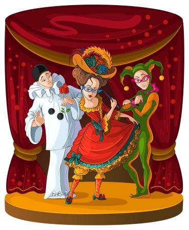 teatro antiguo: Columbine, Arlequín y Pierrot - personajes de teatro cómico