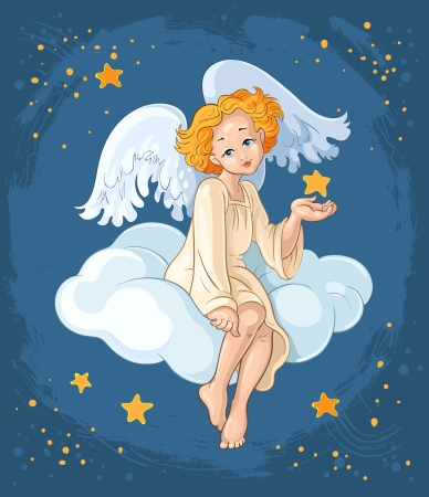 children of heaven: Cute angel girl with Christmas star sitting on a cloud
