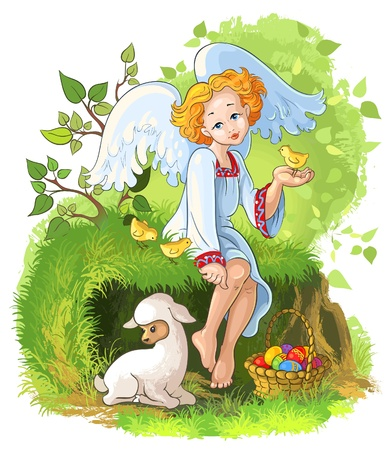 Cute angel girl with Easter basket, chickens and lamb Stock Illustratie