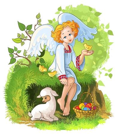 pasen schaap: Leuke engel meisje met Pasen mand, kippen-en lamsvlees Stock Illustratie