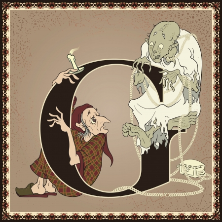 scrooge: Vintage fairytale children book alphabet. Letter G. A Christmas Carol