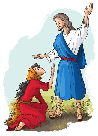 prostitue: Bijbel verhalen. Jezus aan Maria van Magdalena. Christian vector kunst illustratie