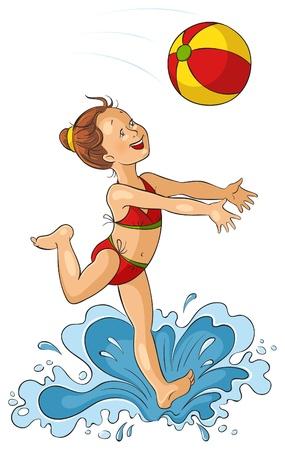 귀여운 작은 소녀는 바다에서 해변에서 공을 가지고 노는. 라이프 스타일 여름 휴가 일러스트