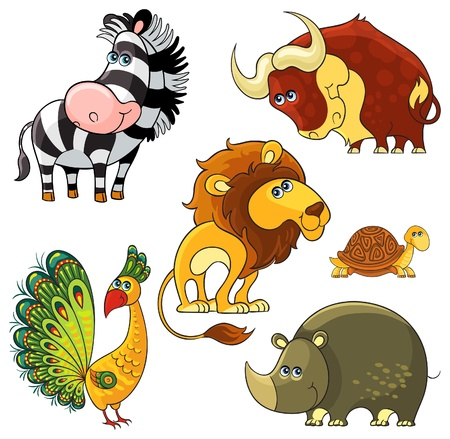 African wild cartoon animals characters set Stock Vector - 20220707