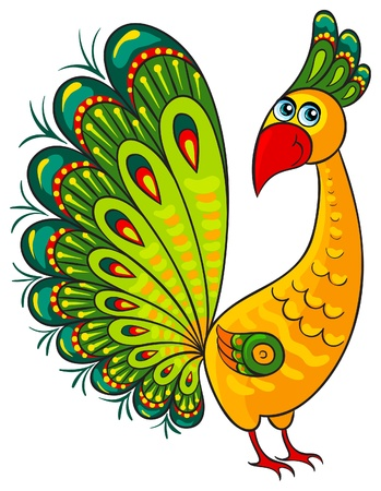 Peacock  Cartoon african wild animal character Vector