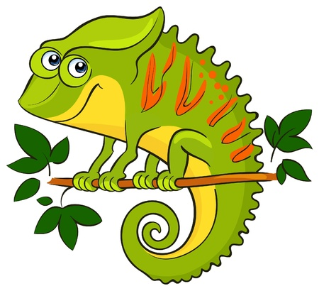 Chameleon  Cartoon african wild animal character Vector