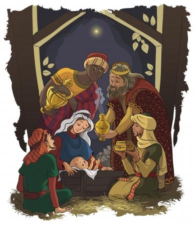 キリスト降誕のシーン イエス、マリア、ヨセフと 3 人の王