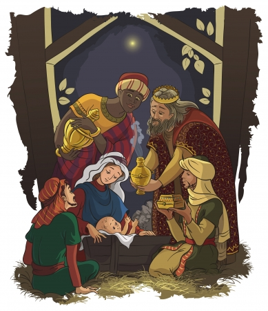 jesus: Nativity scene  Jesus, Mary, Joseph and the Three Kings