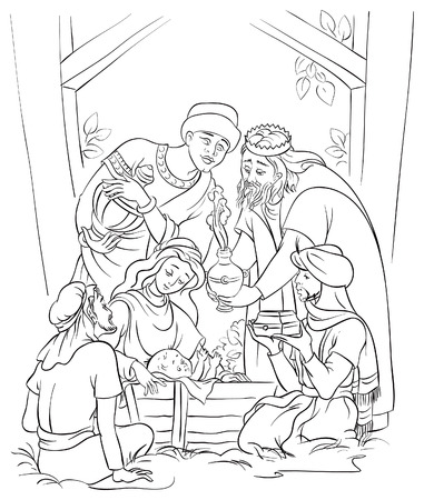Jesus, Mary, Joseph and the Three Kings  Coloring page Vector