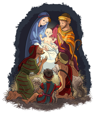 Nativity Scene with Jesus, Mary, Joseph and shepherds Vector