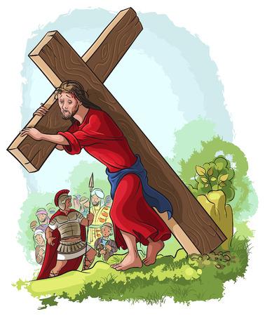 illustration of Jesus Christ carrying cross Stock Illustratie