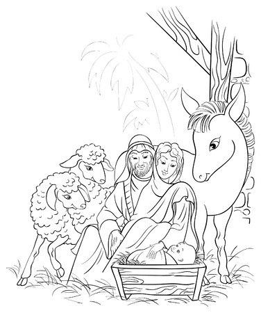 Black and white illustration of Christmas nativity scene with Holy Family Иллюстрация