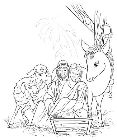 pesebre: Ilustración en blanco y negro de la escena de la natividad de la Navidad con la Sagrada familia Vectores