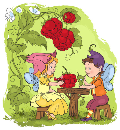 Vector fairytale illustration  Two little cute elves lunch in the garden cafe