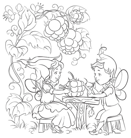 Black and white fairytale illustration two little cute elves lunch in the garden cafe Vectores