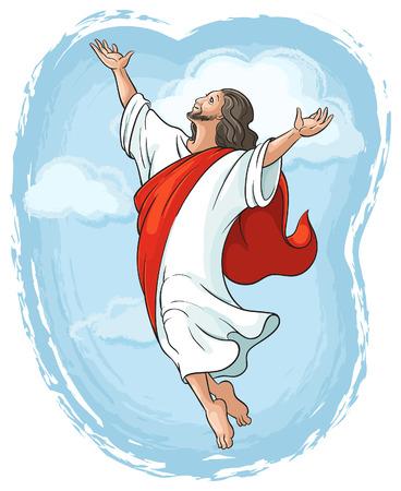 예수님은 하늘에 손을 올리는 승천, 부활절 테마