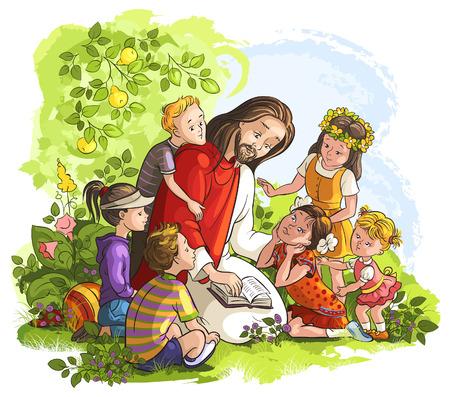 예수님은 아이들과 함께 성경을 읽기위한 벡터 일러스트 레이 션