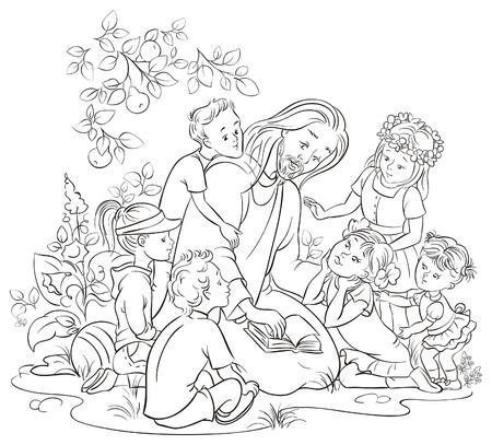 De Bijbel met kinderen Kleurplaat Jezus lezen Stockfoto - 27529460