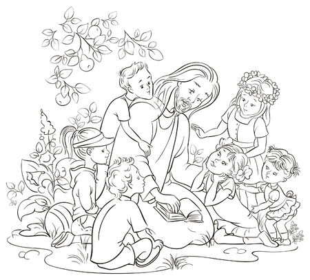 pastor de ovejas: Jesús leyendo la Biblia con los niños colorear página Vectores