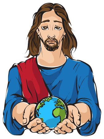 Portret van Jezus die de handen planeet Aarde