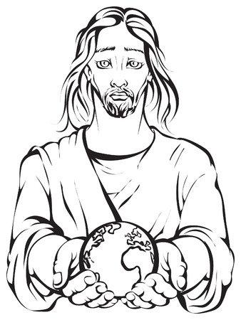 Colouring page of Jesus holding the hands planet Earth Vector