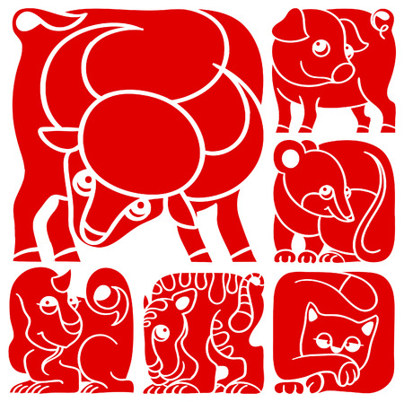 Chinese horoscope set  Pig, Rat, Ox, Tiger, Cat, Dragon Vector