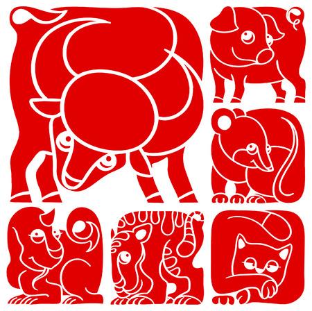 Chinese horoscope set  Pig, Rat, Ox, Tiger, Cat, Dragon