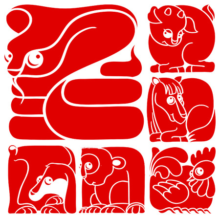 Chinese horoscope set  Snake, Horse, Sheep, Monkey, Rooster, Dog Illustration
