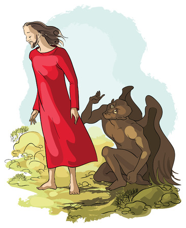 Temptation of Jesus Christ in the Wilderness Illustration