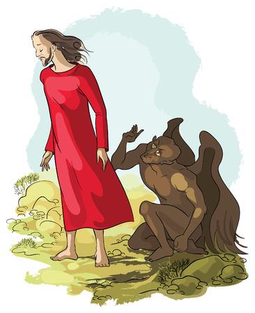 Temptation of Jesus Christ in the Wilderness Stock Illustratie