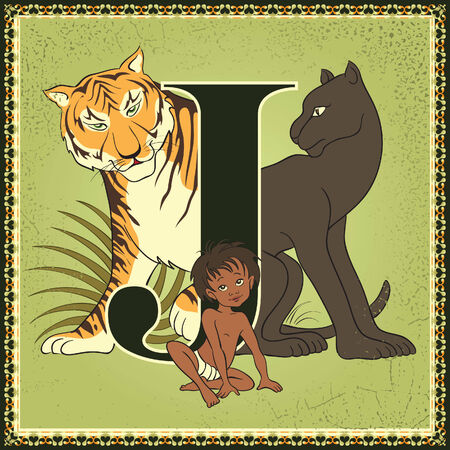 jungle: Fairy tale alphabet. Letter J. The Jungle Book by Rudyard Kipling