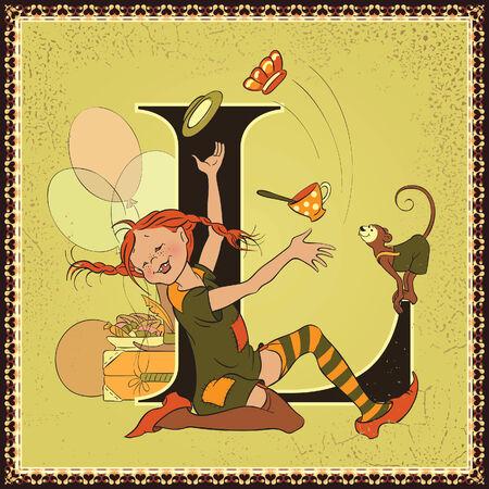 ancient alphabet: Fairy tale alphabet. Letter L. Pippi Longstocking by Astrid Lindgren