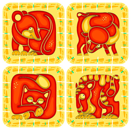 Animal chinese horoscope set. Rat, Ox, Tiger and Cat Vector