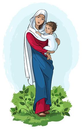 nascita di gesu: Vergine Maria che tiene Gesù bambino