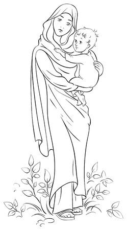 divine: Maagd Maria voorhanden hebben kindje Jezus