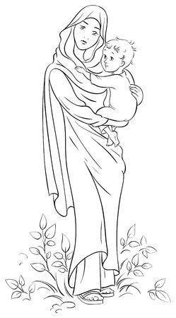 Virgin Mary holding baby Jesus Vector