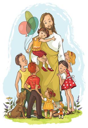 子供とイエス  イラスト・ベクター素材