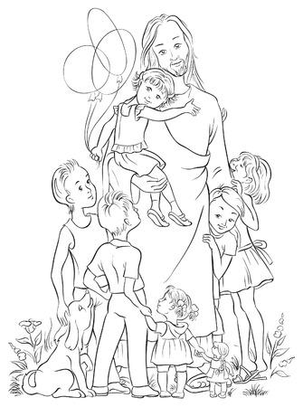 Jesus with children outlined Zdjęcie Seryjne - 33302762
